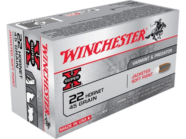 Winchester Super X .22 Hornet 45gr Jacketed soft point
